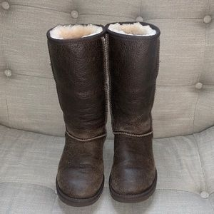 UGG Brown Leather Tall Boots